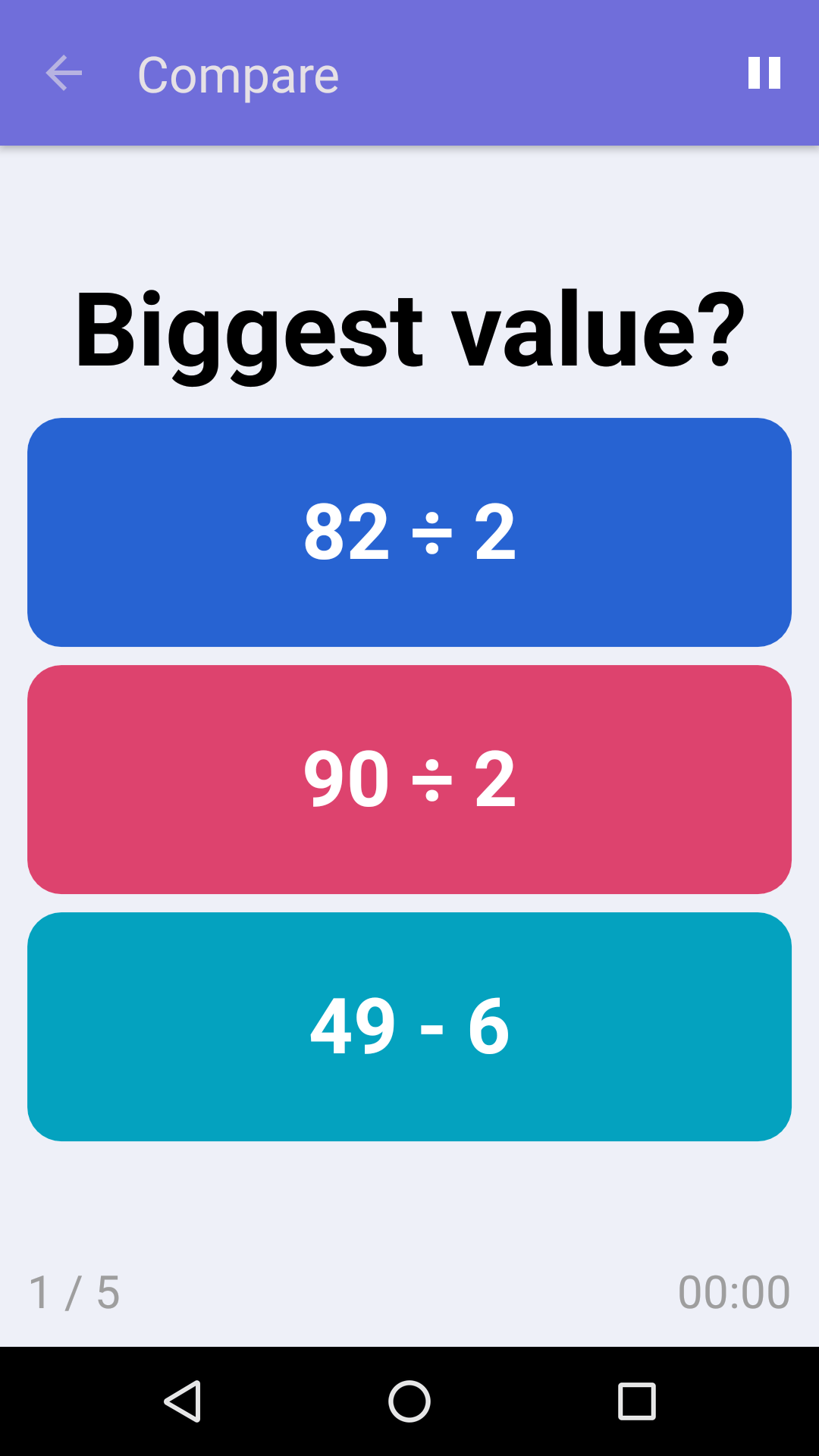 Compare : Free Math Game for iPhone & Android
